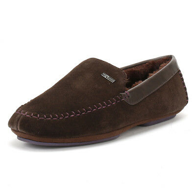 Ted Baker Mens Slippers Brown Suede Moriss 2 Moccasins Home Shoes