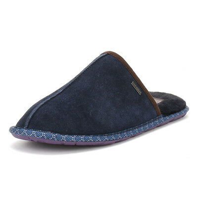 Ted Baker Mens Slippers Dark Blue Suede Youngi 2 Mules Home Shoes