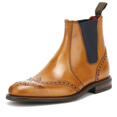 Loake Mens Handcrafted Tan Hoskins Brogue Chelsea Boots Goodyear Welted Shoes