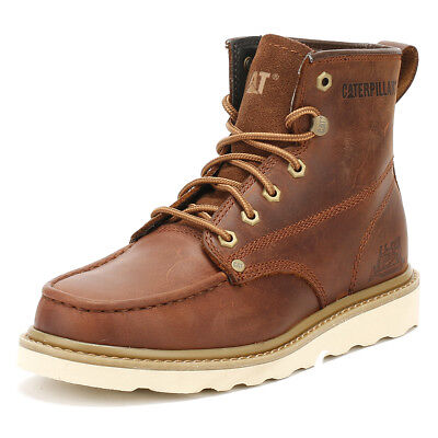 Caterpillar Mens Brown Glenrock Ankle Moc Work Boots, Full Grain Leather Shoes