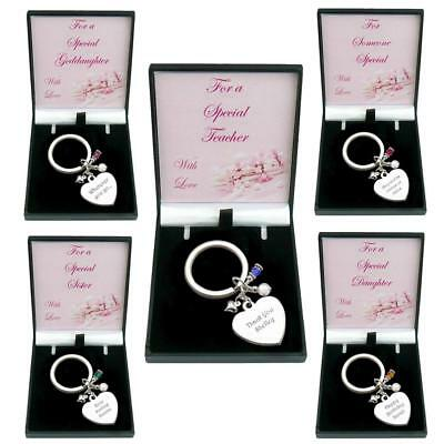 Personalised Keyring with ANY Engraving and Birthstone, Gift for Mum, Nanny etc