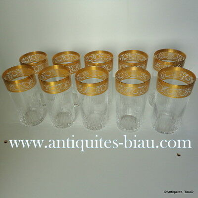 10 Chopes hautes  en Cristal St Saint Louis Thistle OR PARFAIT ETAT