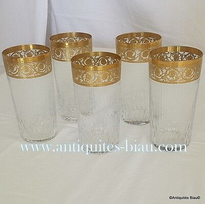 5 chopes hautes en Cristal St Saint Louis Thistle OR PARFAIT ETAT