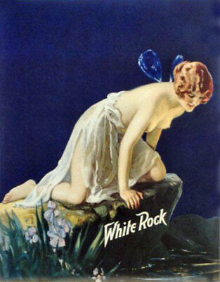 Vintage Advertising Tin Sign White Rock Soft Drink Fairy Wall Decor