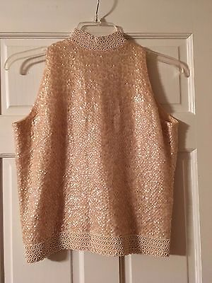 VINTAGE Gia Ninno Beaded/Sequin Sleeveless Top 100% Wool Fully Lined Size 12