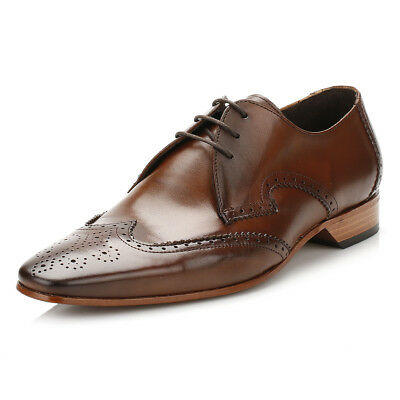 Jeffery West Mens Kenda Tan Escobar Gibson Brogue Shoes, Lace Up Formal Leather