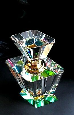new crystal perfume bottle with wand rainbow colours & clear crystal glass 4397