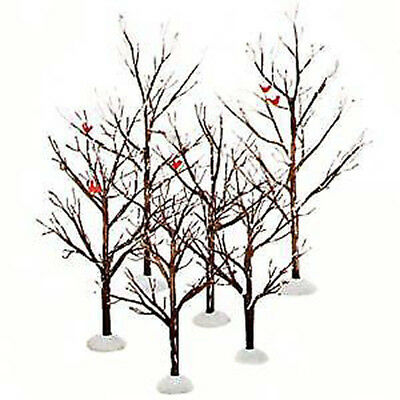 New Dept 56 Set of 6 Bare Branch Trees with Cardinals!