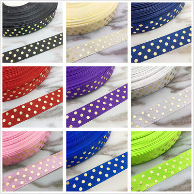 NEW DIY 5 Yards 20mm 25mm Gilding Dot Grosgrain Ribbon Hair Bow Party Sewing