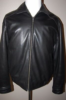 Men's 100% Soft Leather Jacket Inner Lined With Pockets Black Size L **NEW**