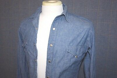 Lot of 2 VTG Polo Ralph Lauren Western Metal Snap Shirts: Denim and Yellow Small