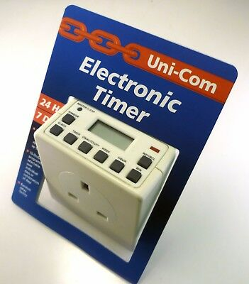 Uni-Com Digital Electronic Timer 24 Hour & Day 10 On/Off per Day/Week MBF023C