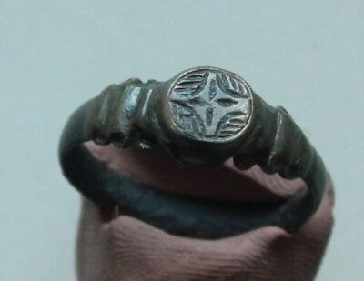 L6  Ancient Medieval Bronze Intaglio Ring Cross Crusaders size Din=17mm Quality