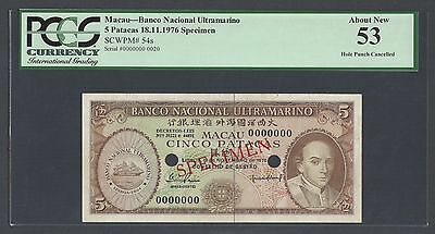 Macau 5 Patacas 18-11-1976 P54s Specimen About Uncirculated
