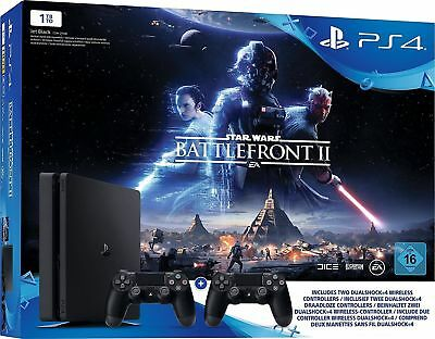 Sony PS4 PlayStation 4 Slim 1TB Star Wars Battlefront 2 + 2 Controller Neu OVP