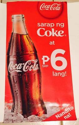 Collectible Philippines Cardboard Coke Coca Cola Promotional Sign Nandito na!