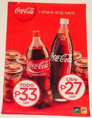 Collectible Philippines Cardboard Coke Coca Cola Promotional Sign share ang saya