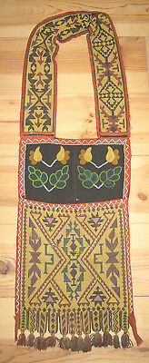 Stunning Large Antique 19C Native American Indian Beaded Beadwork Bandolier Bag
