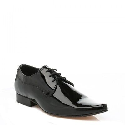 J.G.Harrisons Mens Shoes Lace Up Black Glossy Leather Dress Cheeka Formal