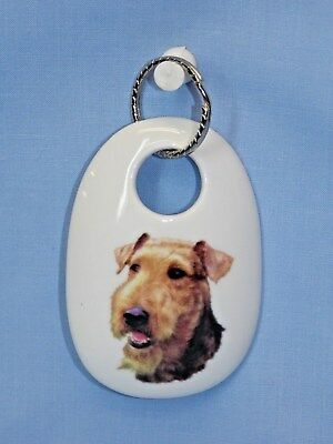 Airedale Terrier Dog Porcelain Key Chain Fired Head Decal Handmade