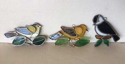 Lot of 3  Bird Stained Glass Sun Catcher Window Hanging Art