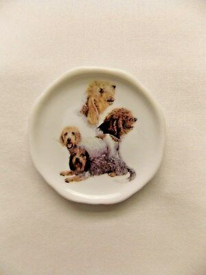 Pettis Basset Griffon Dog 3 View Porcelain White Plate 2 1/2 In Magnet on BackWh