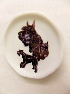 Giant Schnauzer Dog 3 View Porcelain White Plate 2 1/2 In Magnet on BackWh