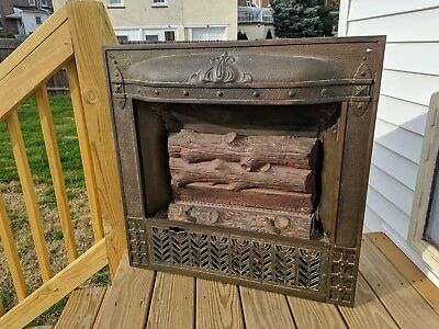 Antique Cast Iron Gas Fireplace Insert