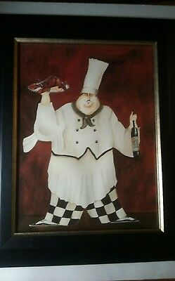 "Fat Italian Chef COOK Italian Restaurant Decor Kitchen Framed Picture 22"" x 18"""