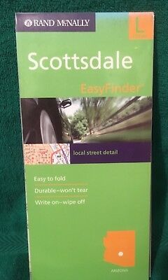 Scottsdale AZ, Easy Finder Map Durable Plastic Fold Out Road Rand McNally.