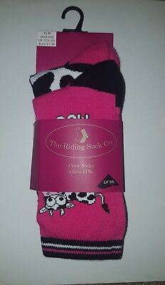 """THE RIDING SOCK CO "" Cow Style Crew Length Twin Pack Socks - Size 12-3.5"