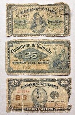 Lot of 3 - 1870 1900 1923 Dominion of Canada 25 cent Bank Note Shinplaster # 10