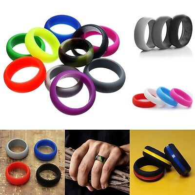 Flexible Hypoallergenic Unisex Rubber Silicone Wedding Ring Finger Band 2-10pcs