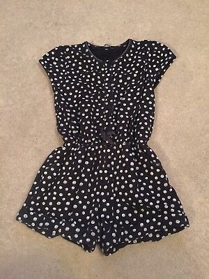 Girls Age 3-4 Black With White Spots Shorts Playsuit.