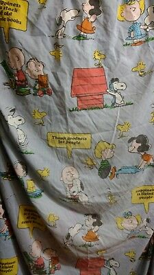 "PEANUTS ""Happiness Is"" Twin Bed Sheet Snoopy Charlie Brown Vintage VGC Free S&H"