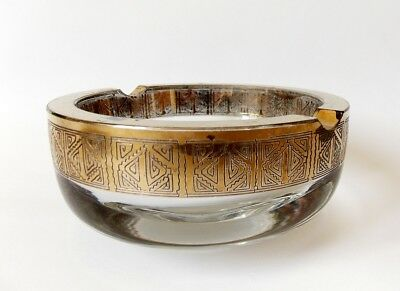 Vintage 1970s Moser Styled Glass Ashtray with Oroplastic Gilded