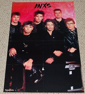 INXS Michael Hutchence Tim Andrew Farriss Group Pose Poster 1986 Personalities