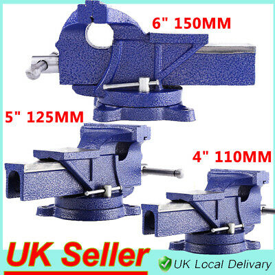"4"" 5"" 6"" Engineer Vice Vise Swivel Base Workshop Clamp Jaw Work Bench Table UK"