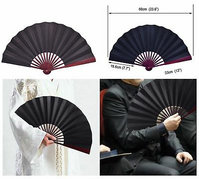 Hand Held Fan Large Black Silk Folding Design with Bamboo Ribs Chinese Style-NEW