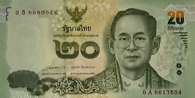 Thailand 20 Baht Paper Money Current Issue