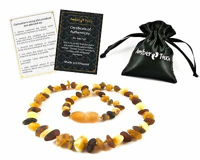 Raw Baltic Amber Teething Necklaces For Babies (Unisex) - Anti Flammatory,