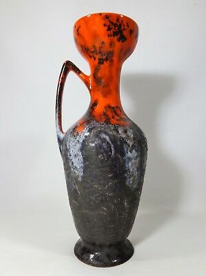 Dutch Modernist Flora Gouda Holland Kreta Orange & Gray Fat Lava Glaze Cer Vase
