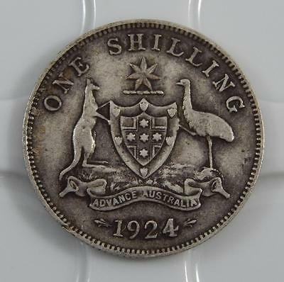 Australia 1924 One 1 Shilling Sterling Silver Coin C0395