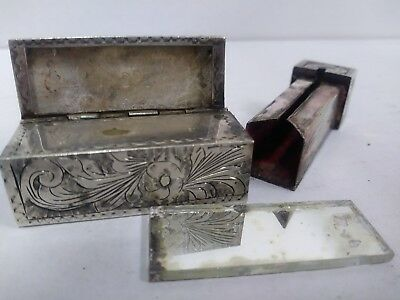 Antique Vintage Sterling Silver Embroidery Lipstick Holder/mirror From 1930's