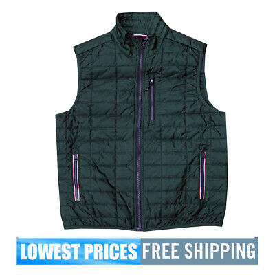 Tommy Hilfiger Men's NWT Green Insulation Cold Stop Eco Puffer Vest Jacket F/S