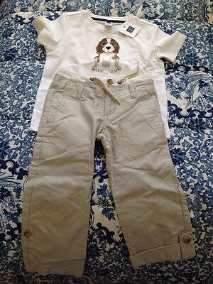 NWT Janie and & Jack 3 T Toddler Boy Dog  T-shirt And Pant Set