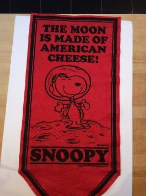 1969 Felt Snoopy Banner - Vintage Pennant - The Moon Is Made Of American Cheese