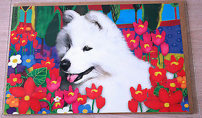 Samoyed Puppy In Floral Garden Art Print 11 X 17