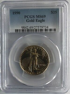 1990 $25 GOLD EAGLE PCGS MS69 ONLY 3 MS70 COINS 2nd Lowest Mintage 31,000