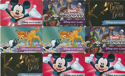 9 Disney gift card lot Guardians Galaxy Mickey Bambi Beauty Beast Used